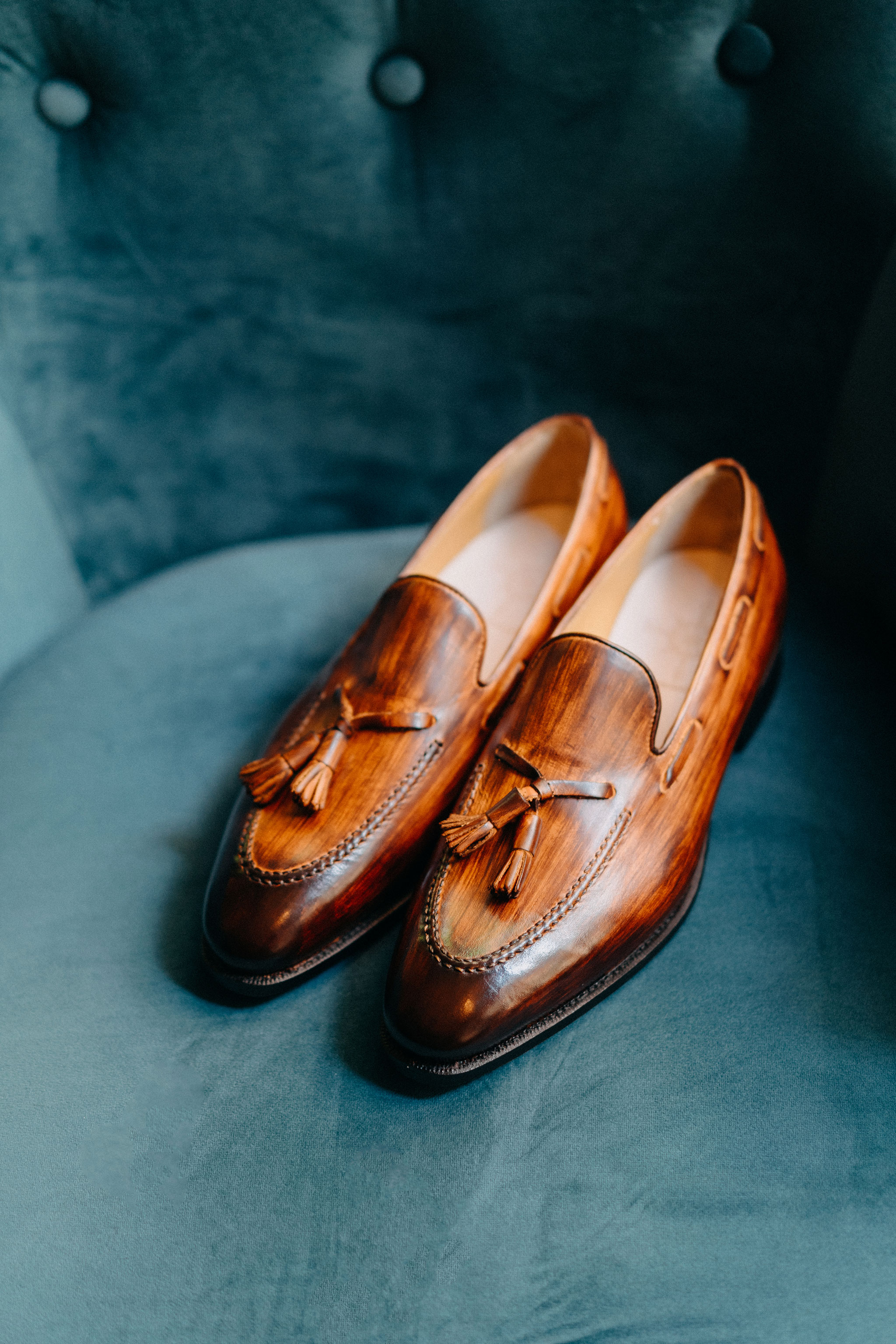 Giày da nam thật Wooden Tassel